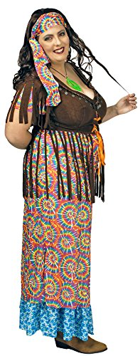 Hippie Retro Kostüm Rainbow Damen für große Größen Gr. 44 46 - Schönes Damen Kostüm in XXL für Karneval, Festival oder Mottoparty