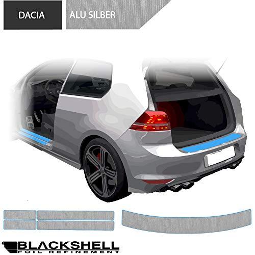 BLACKSHELL Ladekantenschutz + Einstiegsleisten Set inkl. Premium Rakel für Lodgy ab 2012 Alu gebürstet Silber - passgenaue Lackschutzfolie, Auto Schutzfolie
