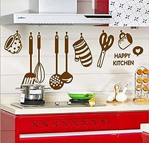 Decals Design StickersKart Wall Stickers Stylish Kitchen Art (Brown)