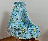 Velinda Bettwäsche-Set für Moseskorb/Babykorb/Stubenwagen mit Baumwolle-Betthimmel (Muster: Eule_Blau)