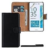 4in1 PREMIUM Wallet Hülle in Schwarz für - Sony Xperia X