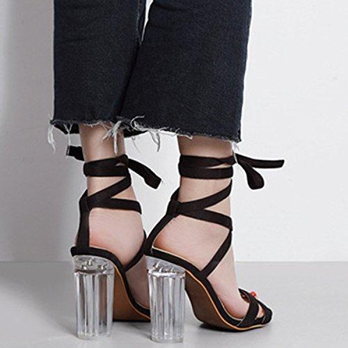 Oasap Women's PeepToe Block Heels Ankle Lace-up Sandals pink