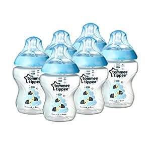 Tommee Tippee Closer to Nature 260 ml/9fl oz Decorated Feeding Bottles (Blue/6-pack)