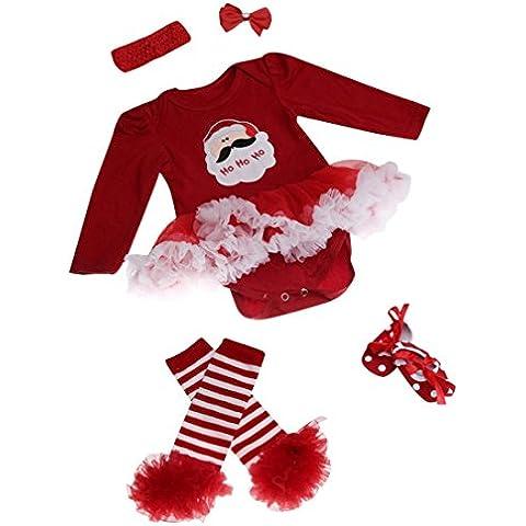 ZARU Mono recién nacido del bebé romper vestido con tutú ropa de los sistemas para bebé 4 piezas Trajes de Navidad 0 to 1 años ★Santa Claus★