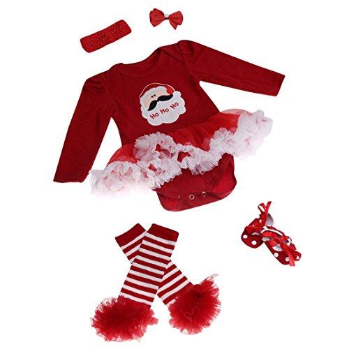 ZARU Mono recién nacido del bebé romper vestido con tutú ropa de los sistemas para bebé 4 piezas Trajes de Navidad 0 to 1 años ★Santa Claus★ S-3 (M)