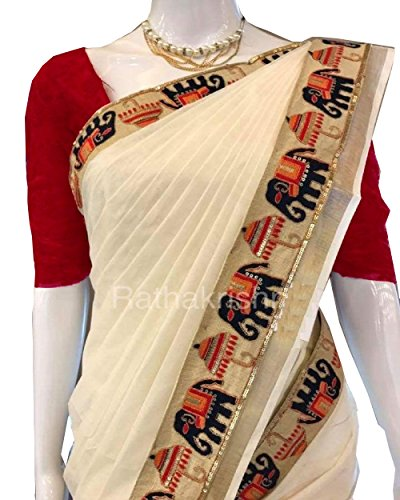 Shyam Cream colored Chanderi Cotton Elephant Figures Embroidery Lace Work Saree