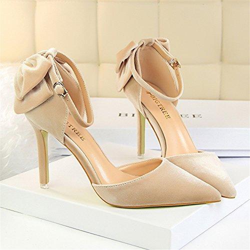 z&dw Chaussures fines en daim à talons hauts arc spartiates mot Couleur champagne