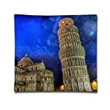 Leaning Tower of Pisa Illustration Pillowcase - Zippered Pillow Case Cover, Pillow Protector, Throw Pillow Cover - Stand
