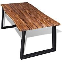 festnight mesa de comedor madera maciza 180x90 cm - Mesa De Madera Rustica