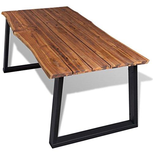 Festnight tavolo per sala da pranzo in legno massello di acacia 180x90 cm