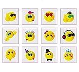 MunchieMoosKids Lot de 24 tatouages temporaires Smileys