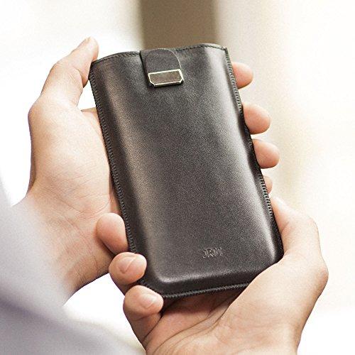 Samsung Hülle Tasche Case Leder Etui Cover personalisiert durch Prägung mit ihrem Namen, Monogramm für Galaxy S8 active S7 Edge S6 Edge+ A7 2017 A5 A3 2016 On7 On5 Grand Prime Amp Express 3 J3 (Personalisierte Monogramm-leder)
