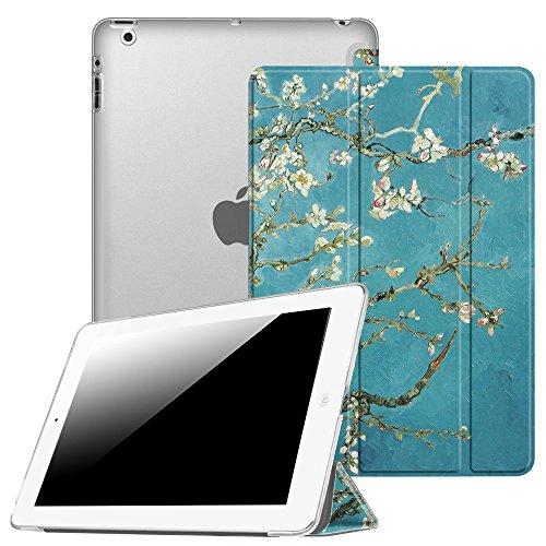 Fintie Hülle für iPad 4, iPad 3 und iPad 2 - Ultradünne Superleicht Schutzhülle mit transparenter Rückseite Abdeckung Cover mit Auto Schlaf/Wach Funktion, Mandelblüten - Ipad Das Kunststoff-abdeckung Für