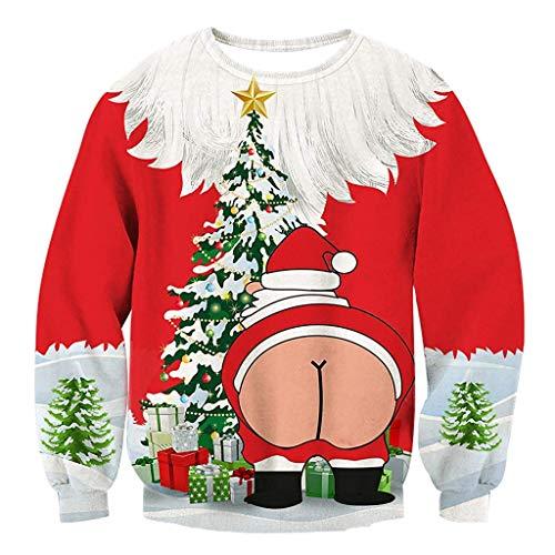 (Bibao Damen Ugly Sexy Weihnachtliches 3D Print Langarm Urlaub Stil Weihnachten Weihnachten Hemd Pullover Bluse Sweatshirt)