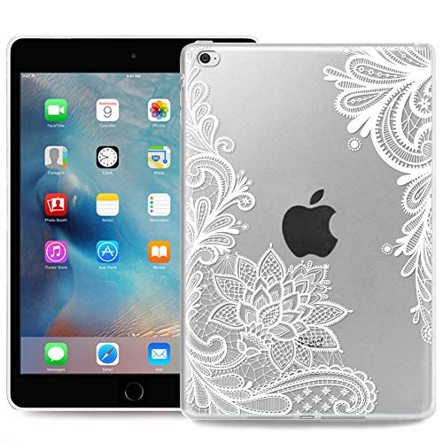 ZhuoFan Cover per iPad Mini 4, Custodia Cover Silicone Trasparente con Disegni Slim Antiurto TPU Morbido Bumper Case Protettiva per Apple iPad Mini 4 Tablet, Mandala Bianca