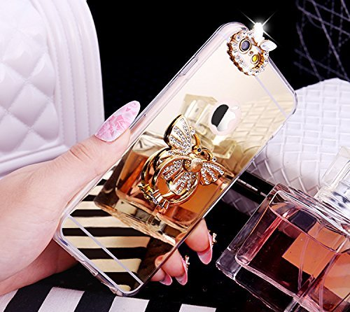 EUWLY Silicone Custodia per iPhone 6 Plus/iPhone 6s Plus (5.5),Specchio Cover Case per [iPhone 6 Plus/iPhone 6s Plus (5.5)],Glossy Mirror Bling Glitter Diamante TPU Custodia Case Cravatta a Farfalla Anello Farfalla,Oro