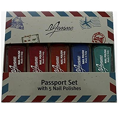 La Femme Mini Nail Polish Gift Set - Passport Set With 5 Nail Polishes - Perfect Gift For Her