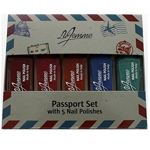 La Femme Mini Coffret Cadeau Vernis à ongles – Passeport Lot de 5 vernis à ongles – Cadeau idéal pour elle