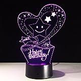 ZQQ 3D Schreibtisch Lampe Herzlichen Glückwunsch zum Geburtstag LED Acryl Erstaunlich 7 Farbe Ändern Night Light Startseite Dekoration Beleuchtung , Touch and Remote