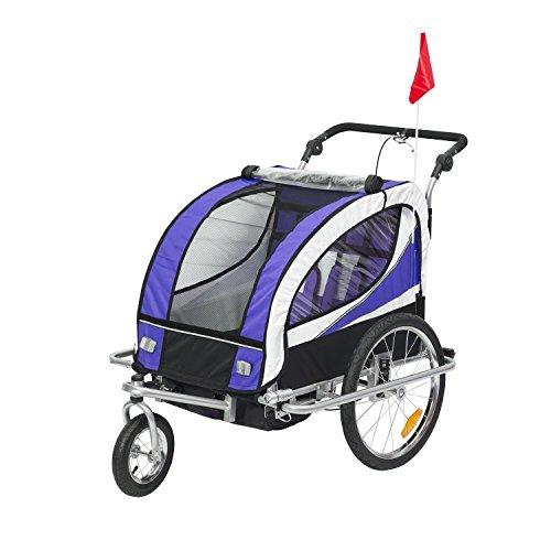 HOMCOM Kinderanhänger 2 in 1 Fahrradanhänger Kinder Jogger Anhänger 360° Drehbar für 2 Kinder lila-schwarz - Französische Anhänger Beleuchtung