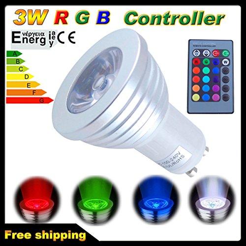 THG LED-Glühbirne GU10, 100 - 240 V, 3 W, 16 Farben, Farbwechsel auf 4 Arten, für Weihnachten, zu Hause, Tanzparty, tolle Atmosphäre mit 24-Tasten-IR-Fernbedienung (Ultimative Restaurant-bereich)