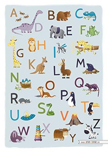 ABC Poster - Kunstdruck - A3 - Tierisches Alphabet - Tier ABC - Kinderzimmer Bild Deko Lernposter