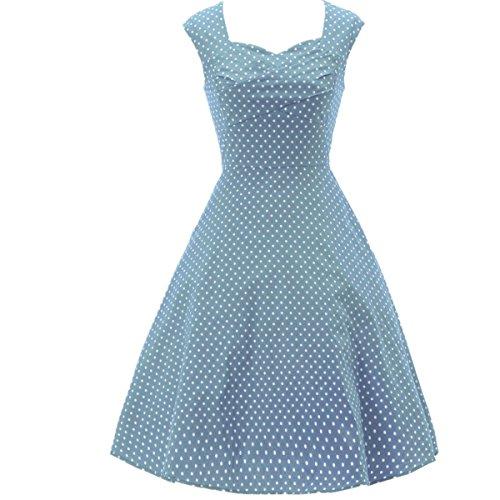 LOBTY Damen Rockabilly Tupfen Dress 50er 60er Jahre Vintage-Kleid Hepburn Retro Audrey Mini Rock Slim Knielang Kleid Ohnearm Hell Blau