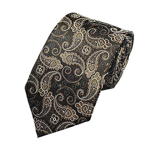 Z-P Mens Classical Gold Floral Luxury Elegant Necktie Knit Woven Jacquard Skinny Tie