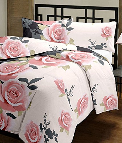 Renown Beautiful Peach Floral Design Reversible Double Bed Quilt / AC Blanket...