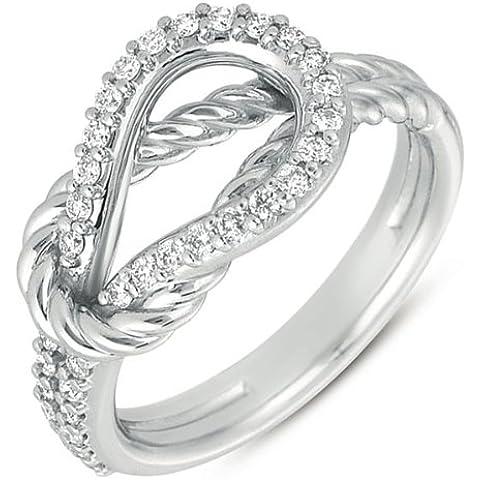 Oro bianco 14ct .31DWT diamante corda nodo d' amore anello