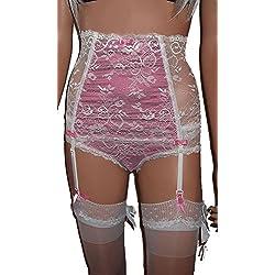 Swanky Pins - Conjunto de lencería - para Mujer Negro White with Pink Medium (30-34W)