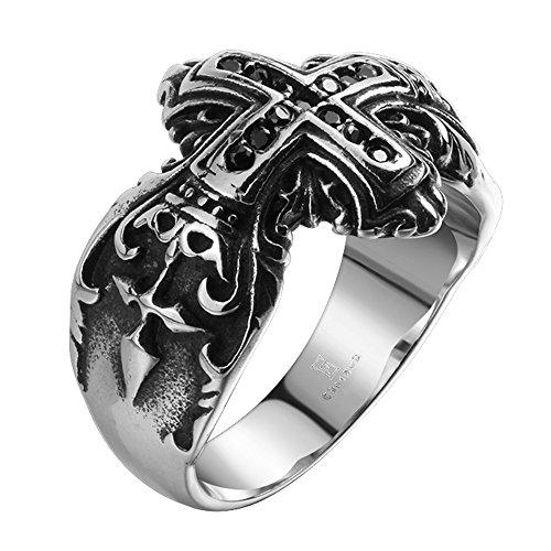 iLove EU anello in acciaio inox Band anello con zirconi argento nero Crocifisso Croce Corona Retro Uomo e Acciaio inossidabile, 62 (19.7), cod. JNM020173900