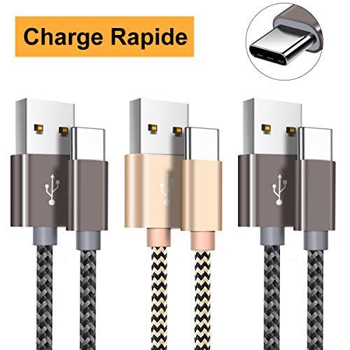 Câble USB C, Câble USB Type C [2m+2m+1m/Lot de 3] Chargeur USB C en Nylon Tressé pour Samsung Galaxy S9 S8 A3 A5(2017),Huawei P20 P10 P9,Honor,Nexus,Sony,MacBook Pro,HTC,LG-Gris et Or