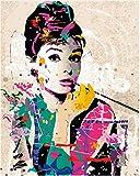LKHOV Kein Rahmen Malen nach Zahlen DIY Wall Decor Bilder Malen Nach Zahlen Handgemalt Auf Leinwand Gemälde Audrey Hepburn Moderne Abstrakte Ölgemälde 40cmx50cm