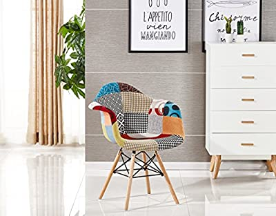 P&N Homewares® Moda Patchwork Chair Dining Chair or Office Chair or Occasional Chair Beautiful Fabric Combination modern Retro Chair produced by P&N Homewares - quick delivery from UK.