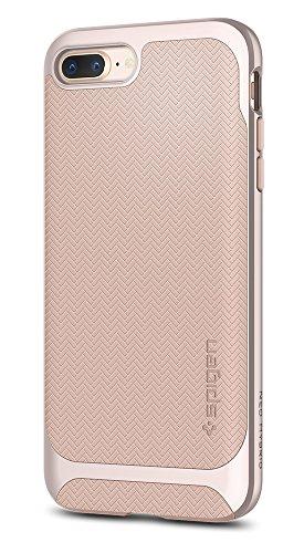 Coque iPhone 8 Plus, Coque iPhone 7 Plus / 8 Plus, Spigen® [Neo Hybrid Herringbone] PREMIUM BUMPER [Gunmetal] Bumper Style Premium Case Slim Fit Dual Layer Protective Coque Pour iPhone 7 Plus / 8 Plus NHH Pale dogwood