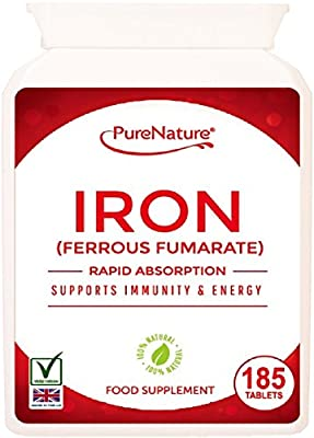 IRON Ferrous Fumarate 6 Month Supply 185 Easy to Swallow Rapid Absorption Maximum Strength Tablets Suitable for Vegetarians and Vegans FREE UK Delivery from Distributed by Be-Beautiful-online
