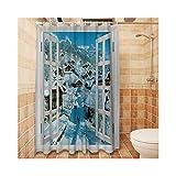 Knbob Duschvorhang Plastik Landschaft Stil 5 Shower Curtain 150X180CM Duschvorhangringe Für Badezimmer Badezimmer Vorhänge