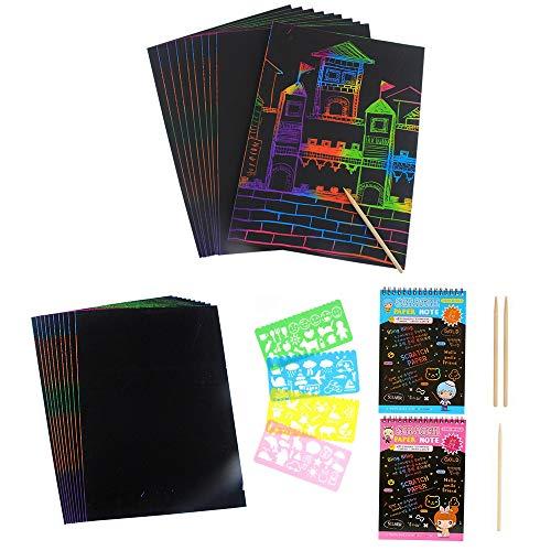 Kratzbilder Set 40 Große Blätter Kratzpapier zum Zeichnen und Basteln Scratch Paper mit Holzstiften Schablonen -