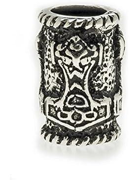 Bartperle Wikinger / Dreadlockperle mit Thorshammer aus echtem Silber