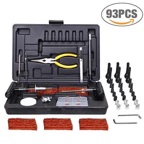 Kit de 93pcs Reparación de neumáticos, TECCPO Professional Juego de Reparación, para Reparar Pinchazos en Neumaticos con Maleta Negro - THTC04H
