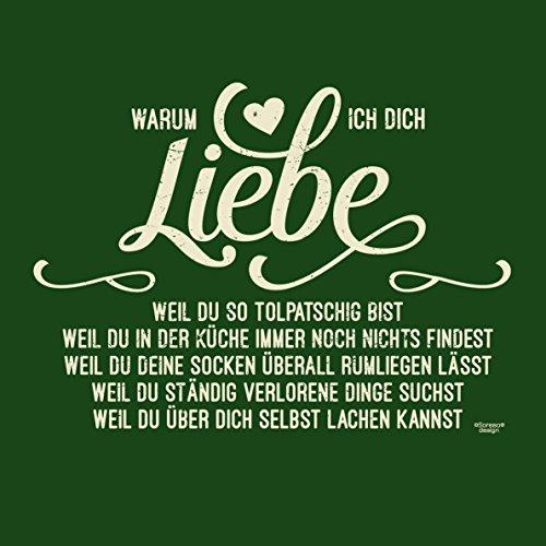 Soreso Design Warum ich Dich Liebe Kissen :+: Romantische Geschenkidee für Frauen und Männer Geschenk Weihnachten Farbe: dunkelgrün