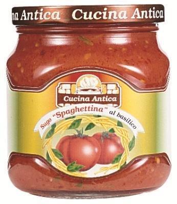 Cucina Antica - ''Spaghettina'' Tomatoes and Basil Sauce - 290 g (Pack of 2 J...