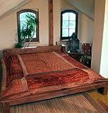 Guru-Shop Brokat- Samtdecke, Tagesdecke, Bettüberwurf - Rostrot, Synthetisch, 270x230 cm, Patchwork Steppdecke aus Indien