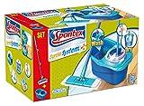 Spontex Express System Plus Fiocco a Panno Piatto e Secchio con Strizzatura Rotante, Plastica, Azzurro, 30.2x50.3x29 cm