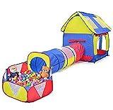 Truedays Kinder SpielHaus Tunnel Spielzelt 3 in 1 Kinderzelt für drinnen&draußen