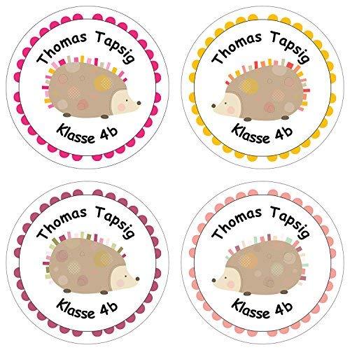Papierdrachen 24 individuelle Aufkleber für Kinder - Motiv Igel - personalisierte Sticker - Schule Einschulung (Kinder Für Igel)