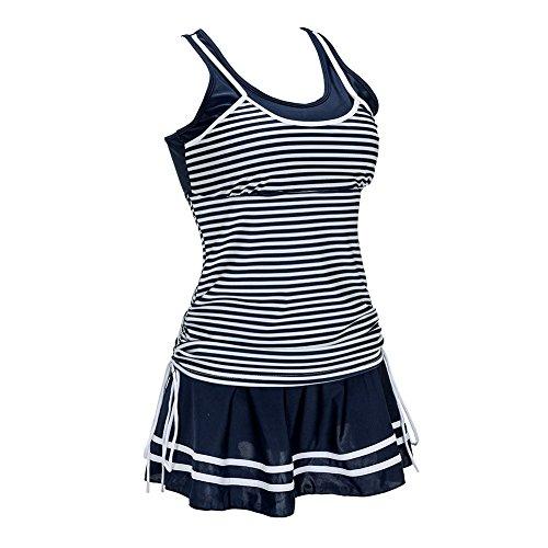 Kemrrey Damen Bademode Badeanzug Zweiteilig Tankinis Streifen Bikini Sets  Mit Röckchen Navy Blau