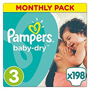 Pampers Baby-Dry 198 Nappies with 3 Absorbing Channels, 5 - 9 kg, Size 3