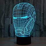#6: Naveed Arts - 3D illusion LED lamp - Iron man with IR Remote and USB cable - 7 colour changing for Decoration / Gift - TL012 - Factory Outlet